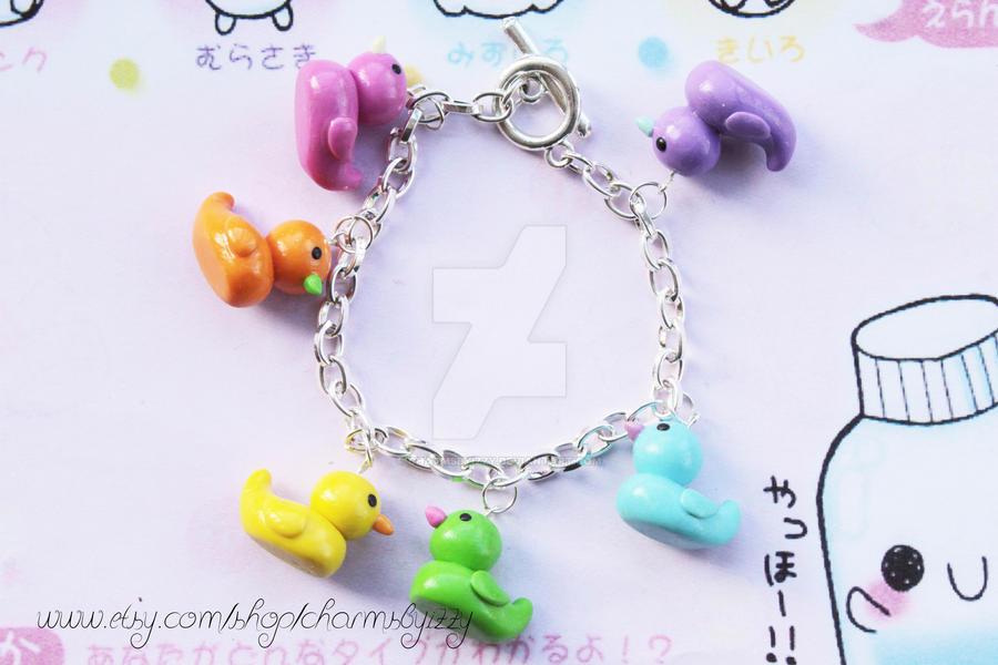 Kawaii Multicolour Rubber Duck Polymer Clay Charm By