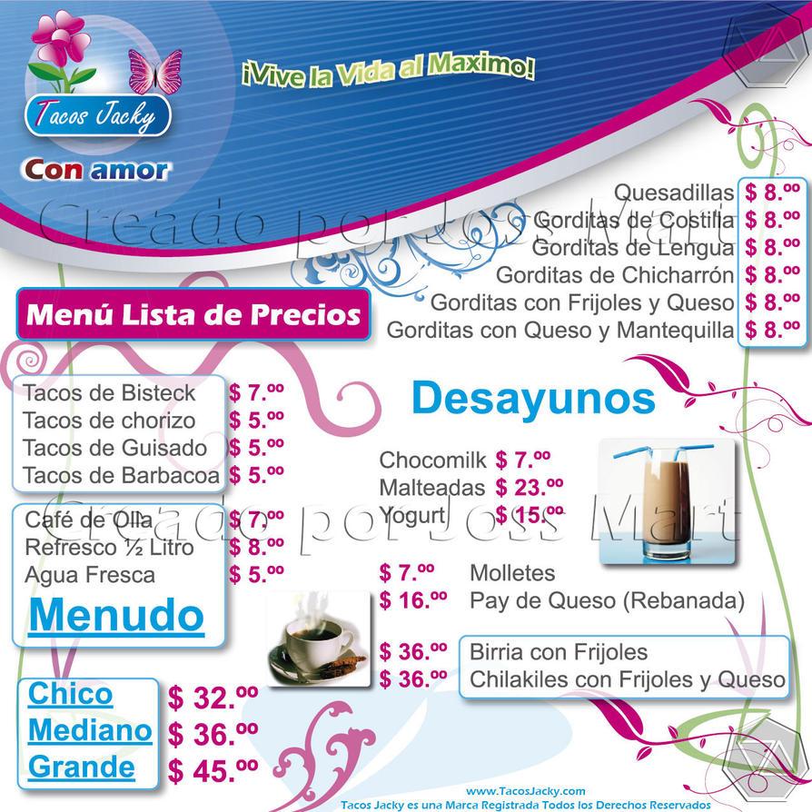 Tacos Jacky Lista de Precios Lona 2 Publicidad by jossmart on DeviantArt