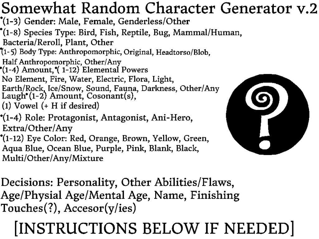 Somewhat Random Character Generator v2 by JoelTheParrot on
