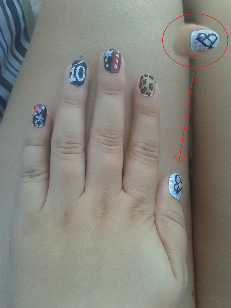 My exo overdose nail art (left hand) by Kellamusen on DeviantArt