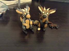 Telephone and Radio handmade Sculpey figures by Zalia13
