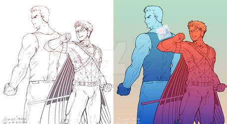 DCnU : Superboy,Red Robin 'Buddy' by noei1984