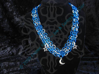 Star and Moon ChainMail Choker by frozenforge