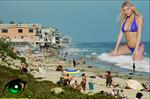 Giantess Kate Upton on the beach