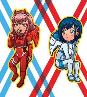 002 and Ichigo Charm/Sticker designs