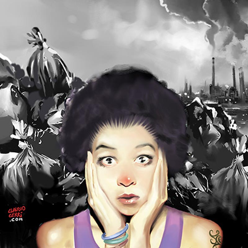 Girl and Trash by claudiocerri