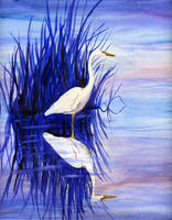 Watercolor Heron by sythesite