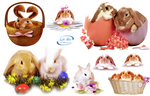 Easter bunnies - PNG