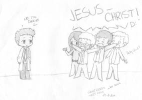 Ghostfacers Meet Cas by lauu7