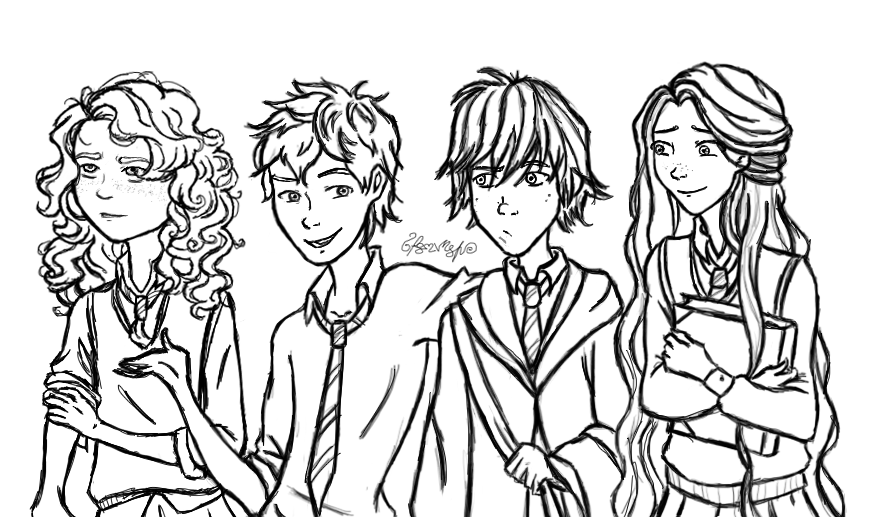 ROTBTD-Hogwarts AU AU 1/? (lineart) by moonlight-dragonart ...