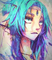 purplr blue hair tan by Lilly-Nila