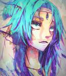 purplr blue hair tan
