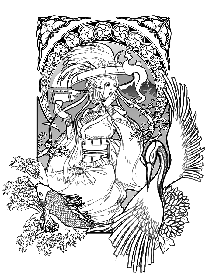 Steampunk geisha wip 02 by lkrecic on deviantart for Japanese art coloring pages