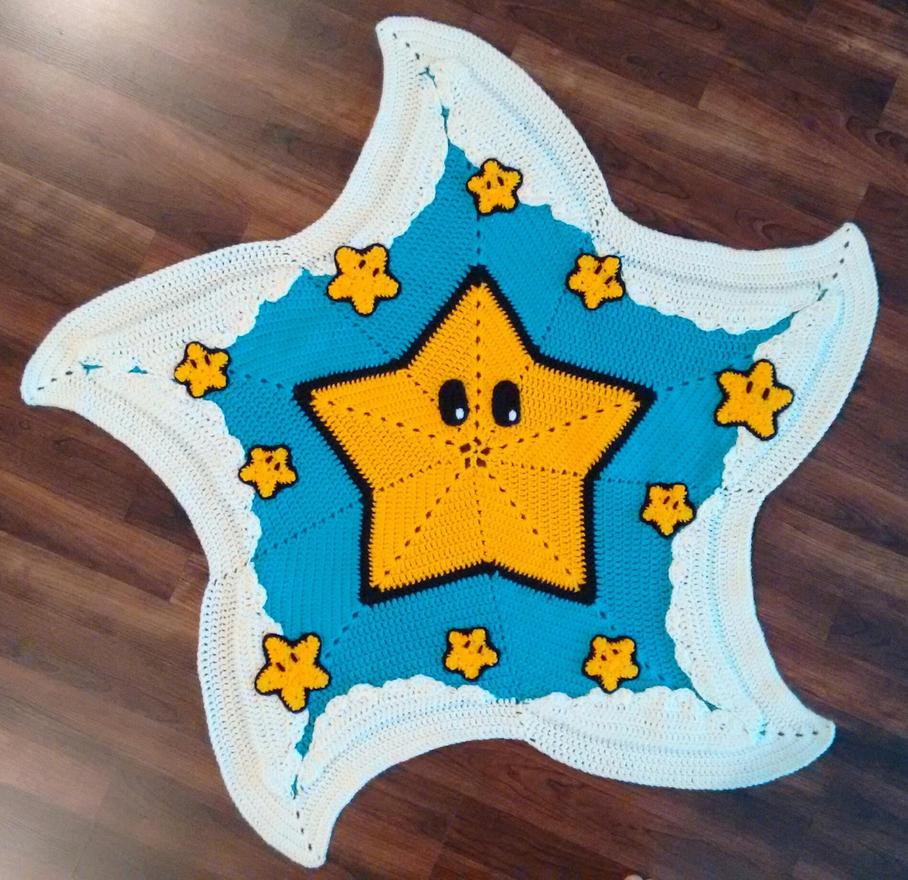 Mario Star Baby Blanket by psycholark