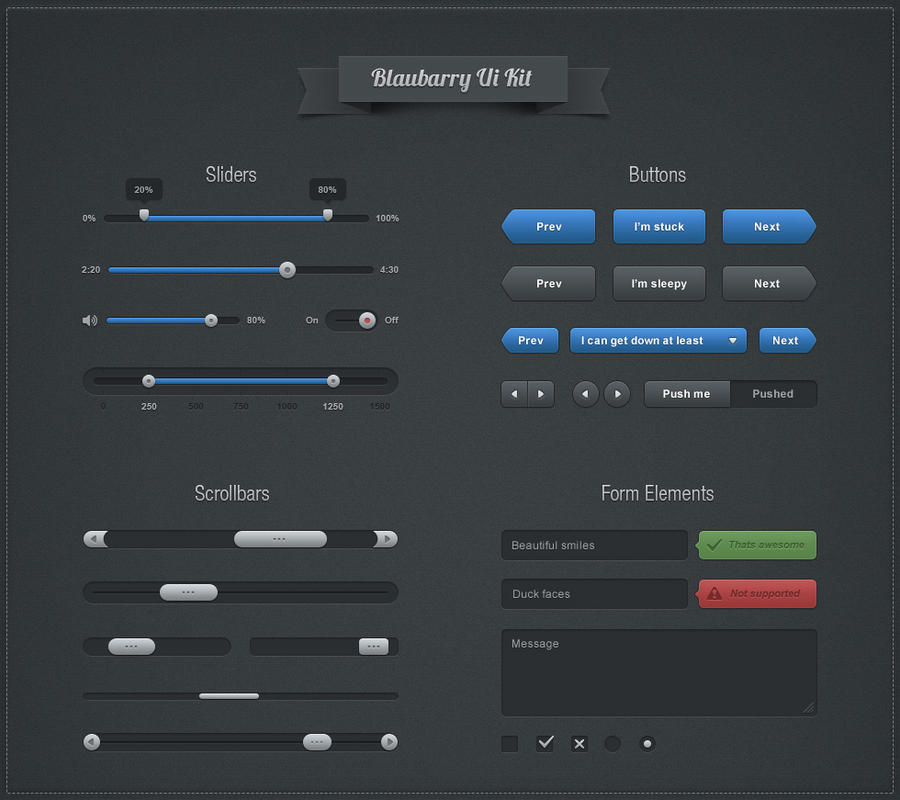 Botton Blaubarry Ui Kit PSD by kiattikun