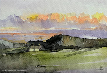 Sunset Cottage by tracybutlerart