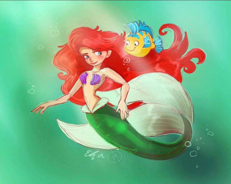 Ariel and Flounder  by Elizartzy