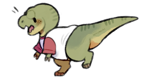 t-rex in a t-shirt