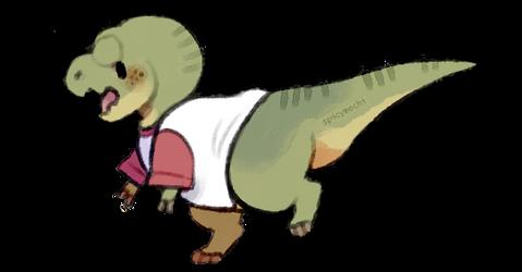 t-rex in a t-shirt