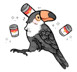 toucan wearing a soup can