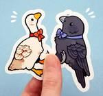 bowtie bird stickers