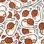mini snail cat stickers
