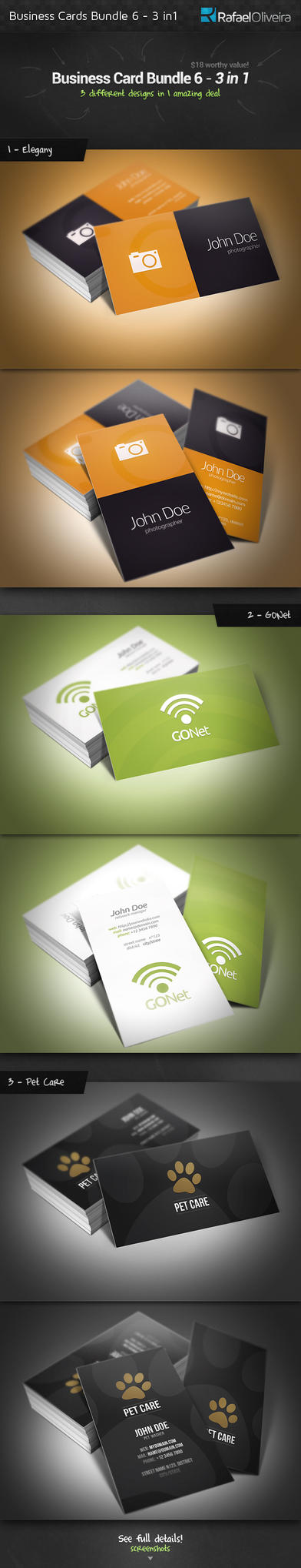 Business Cards Bundle 6 - 3 in 1 by Rafael-Olivra