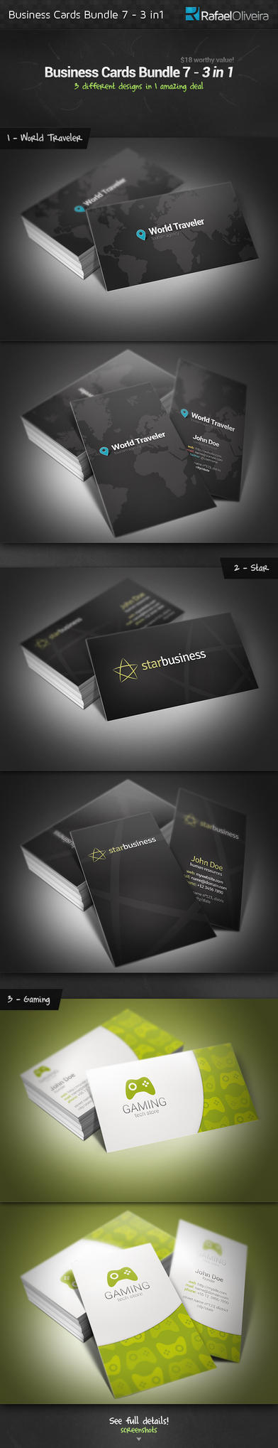 Business Cards Bundle 7 - 3 in 1 by Rafael-Olivra