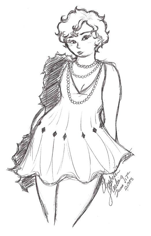 Flapper dress 1920s drawing