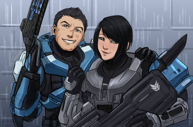 Halo ocs- Boss and Maya by WinterSpec