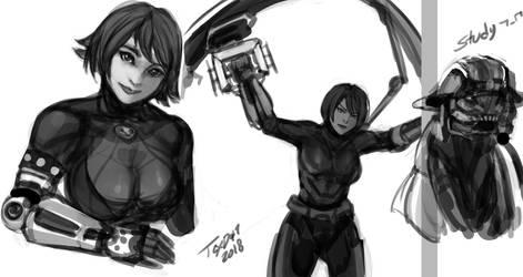 black n white sketches by WinterSpec