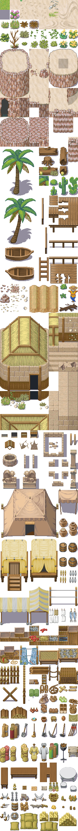 Beach Village Outside Tileset by Fliegevogel