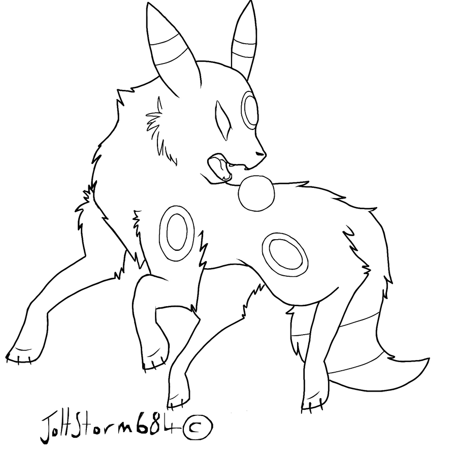 umbreon lineart by joltstorm684 on deviantart