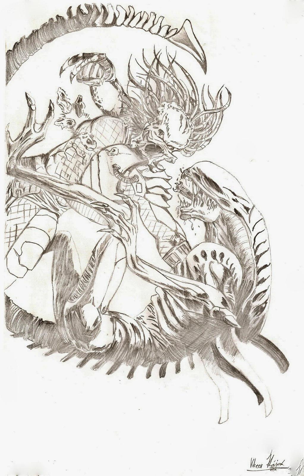 aliens vs predator drawings - photo #29