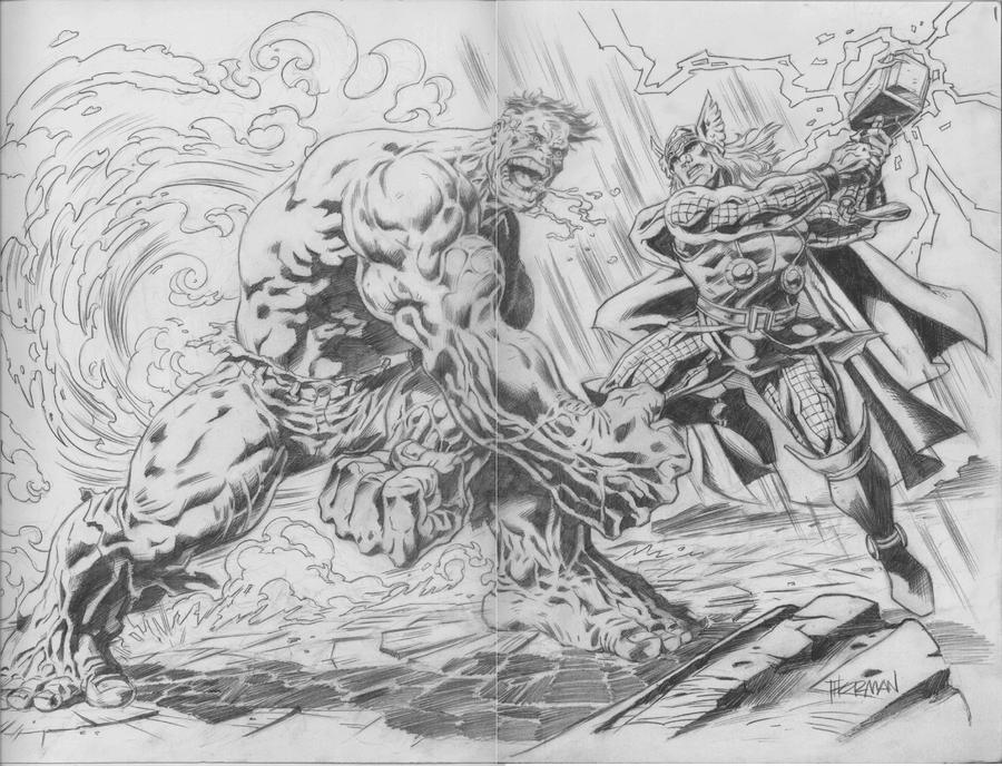 Hulk Vs Thor Pencil By 777thorman On DeviantArt