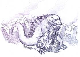 Godzilla and Mothra by Pyroraptor42