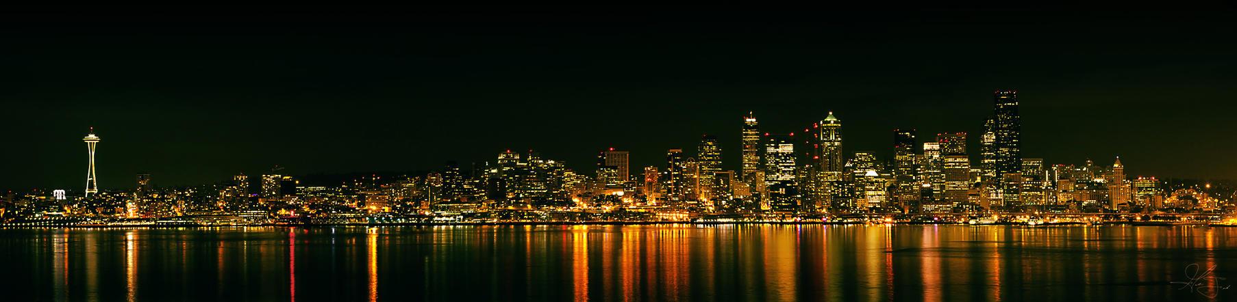 Seattle Night Skyline by ThatFunk