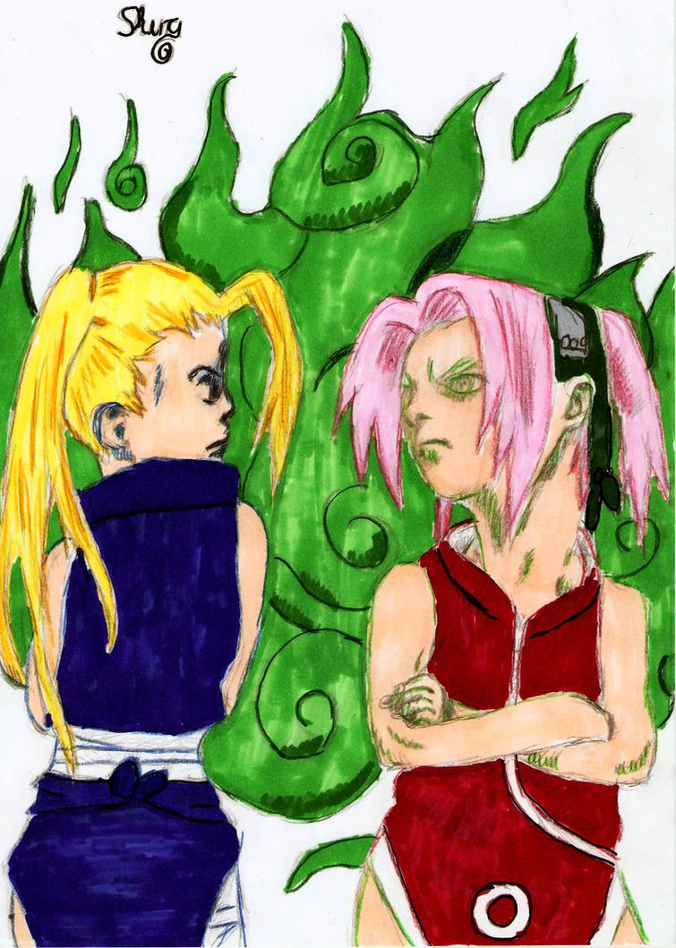 Ino and Sakura in colorvision by ShuraChan