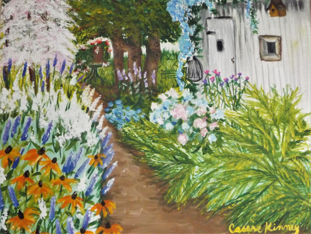 Flower garden and shed by Cassie K by sillybunnns