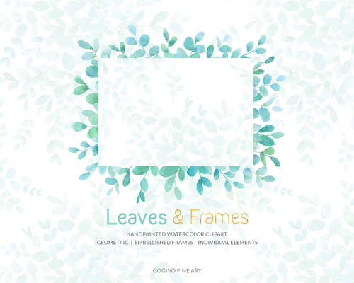 Leaves and Frames Watercolor Cliparts