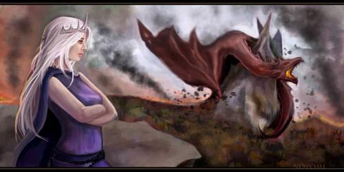 Daenerys Targaryen and Drogon by Nozomi-Art