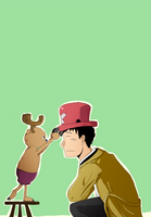 SPNxOP: Castiel and Chopper by SarlyneART