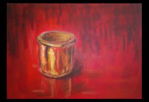 Golden cup on red by mushroomline