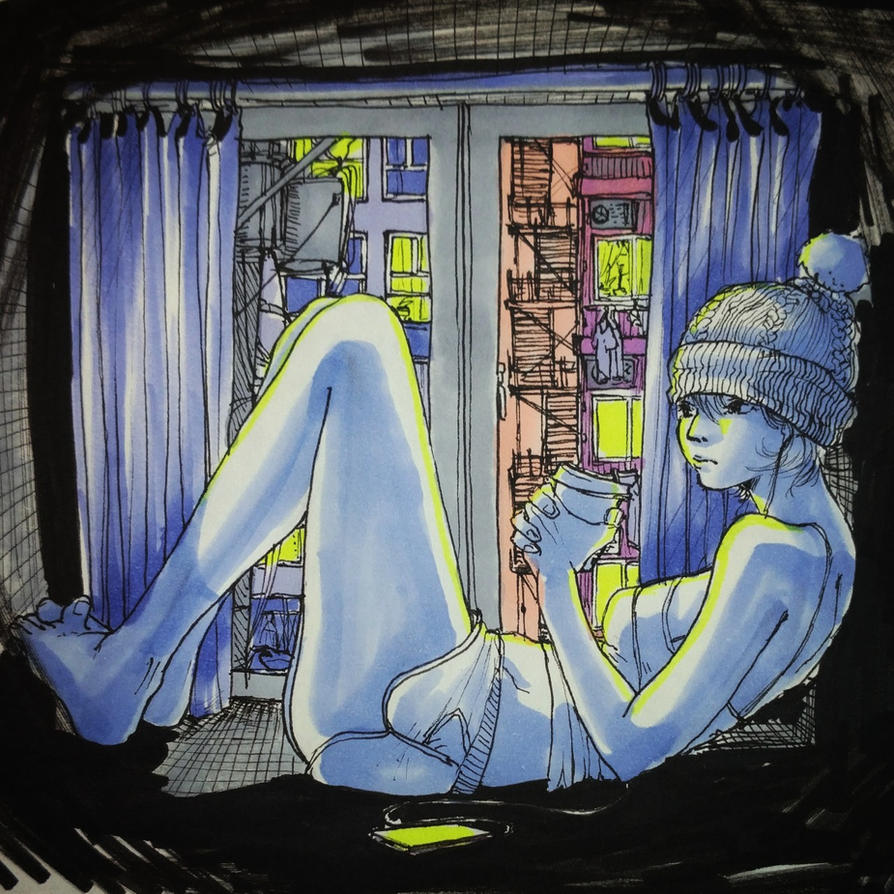 Inktober Windowsill by CrymsonFire