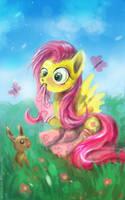 Fluttershy on grass by bloodrizer