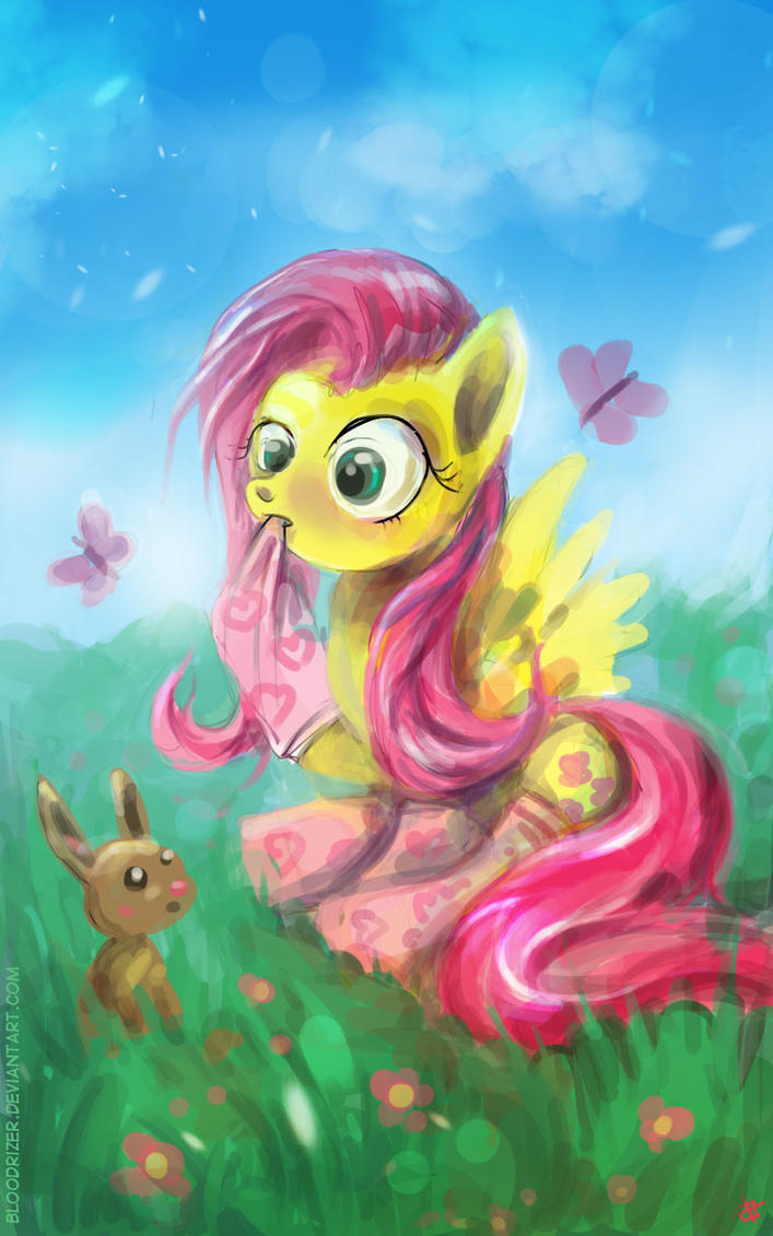 Fluttershy on grass by bloodrizer