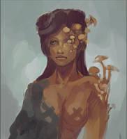 Mushrooms Girl (wip) by bloodrizer