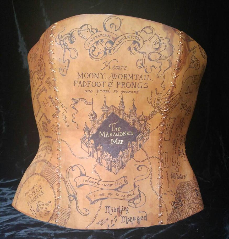 HP Marauder's Map leather corset by sarahredhead