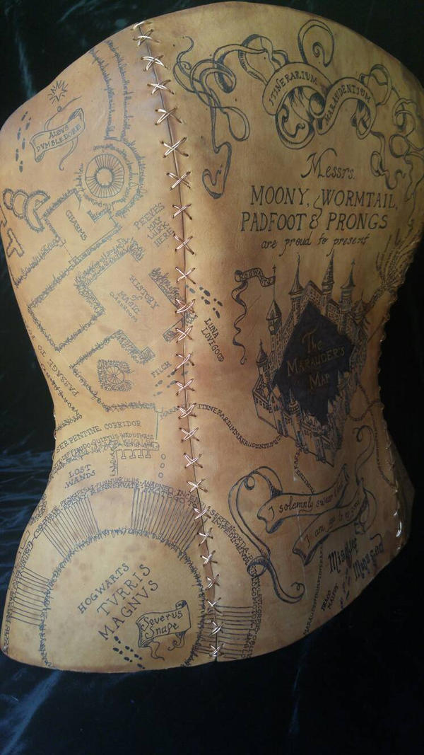 Marauder's Map leather corset right side by sarahredhead