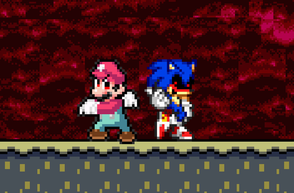 Devil Mario And Sonicexe By Beewinter55 On Deviantart